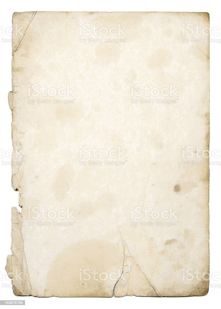 Old weathered paper with white background stock photo