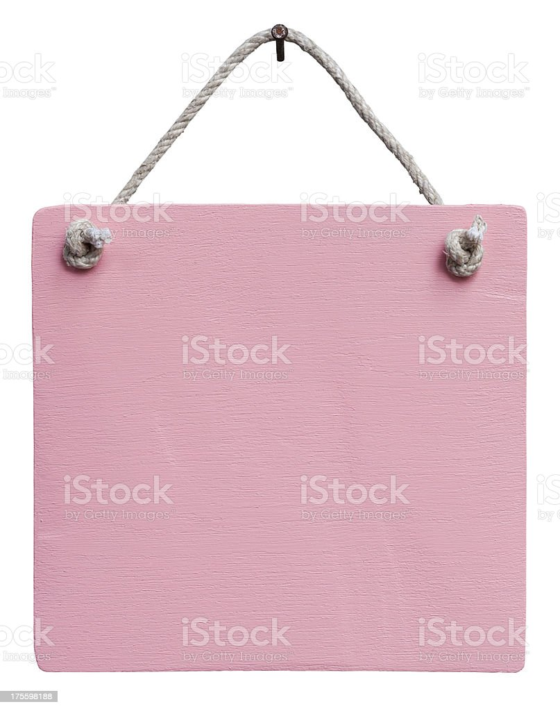 Old weathered pink wood signboard. stock photo