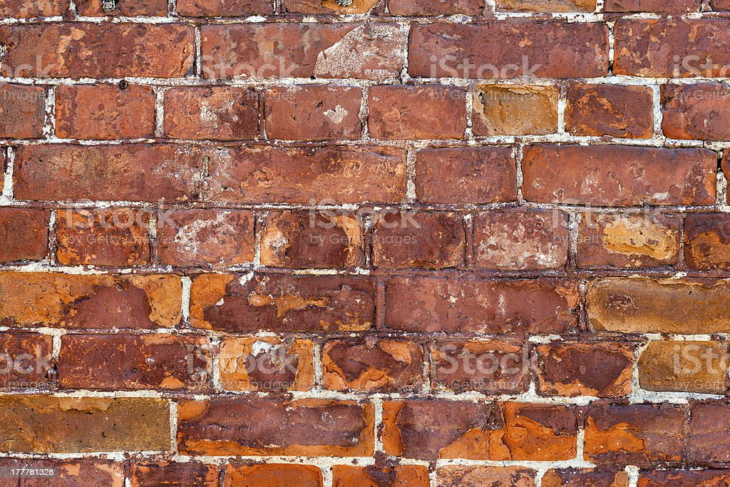 Old weathered red brick wall as background royalty-free stock photo