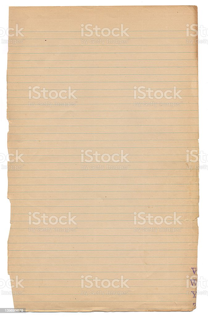 old weathered ruled page royalty-free stock photo