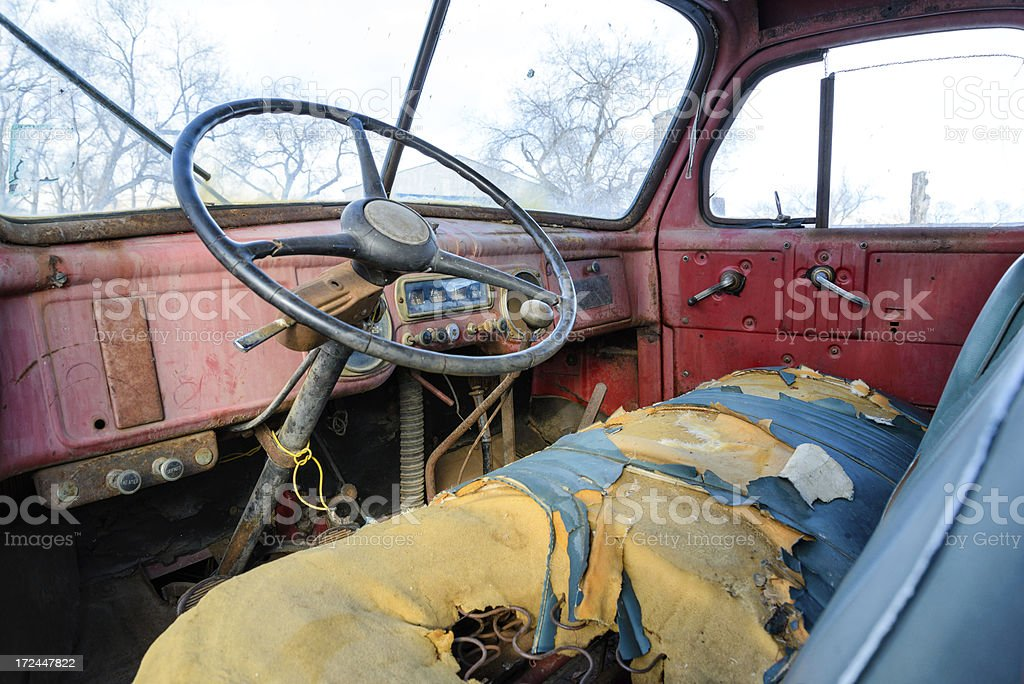 Old Weathered Truck Interior royalty-free stock photo