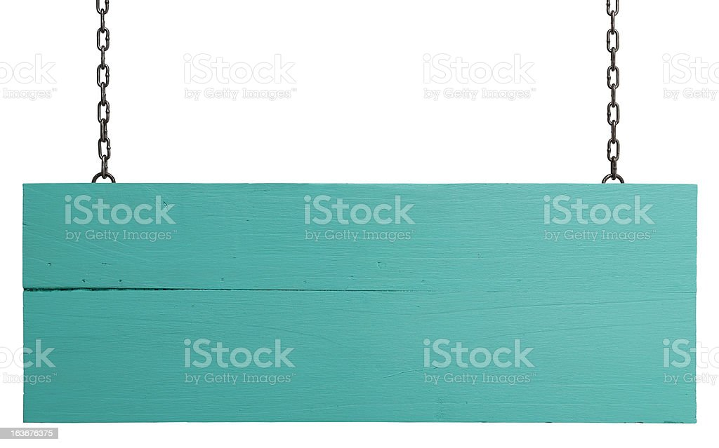 Old weathered turquoise wood signboard. stock photo