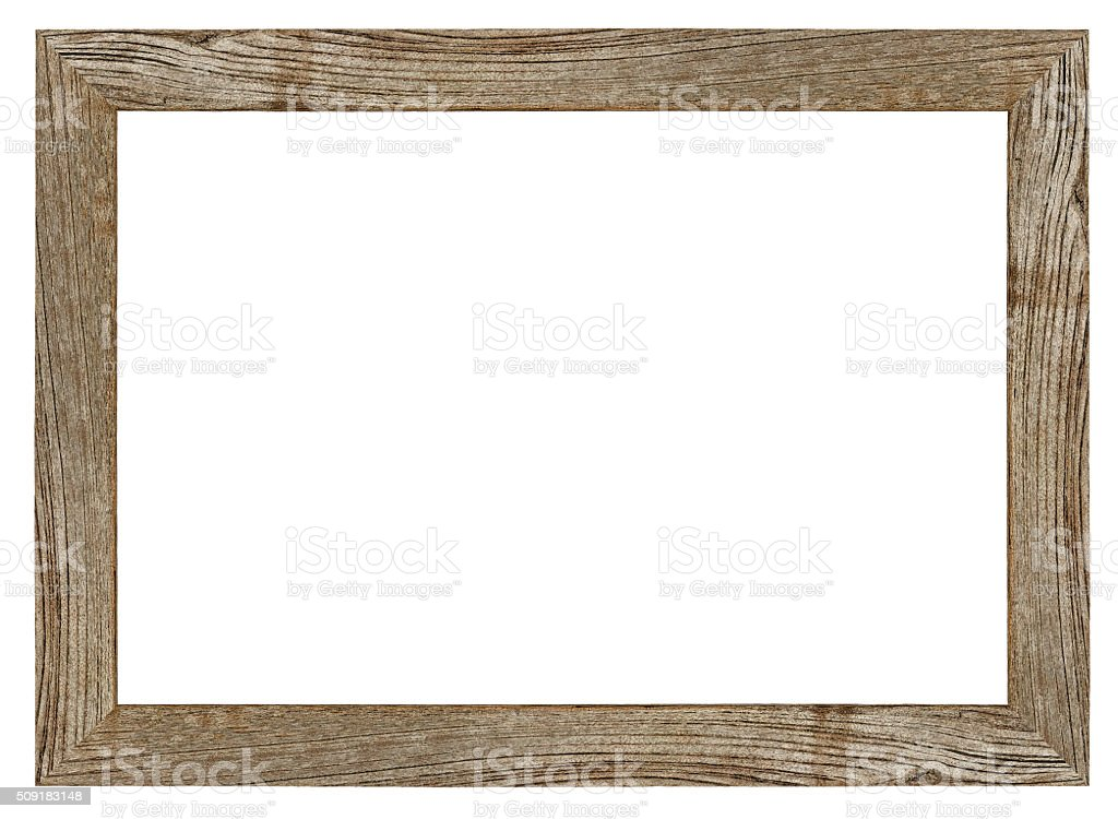 Old weathered vintage natural wood frame. stock photo