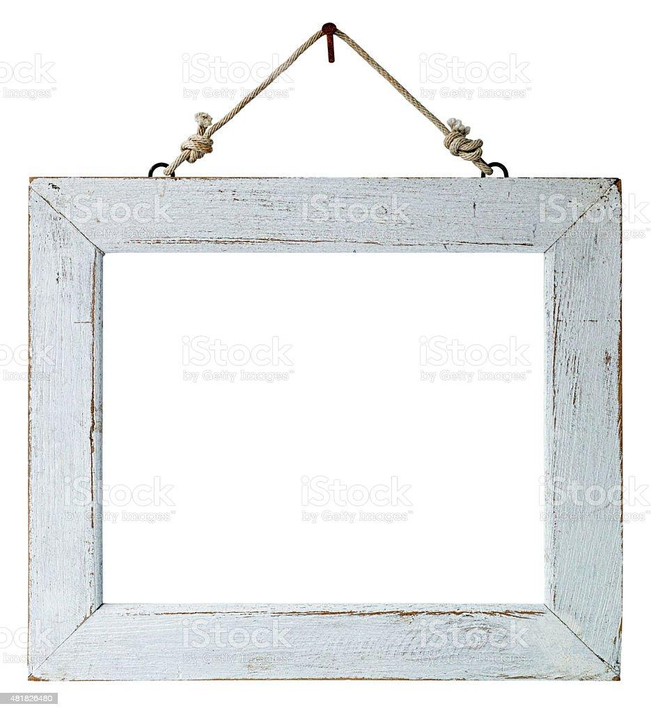 Old weathered white wood frame. stock photo