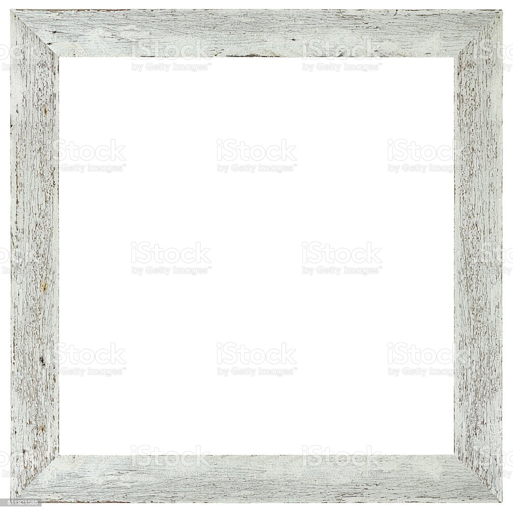 Old weathered white wood frame. stock photo