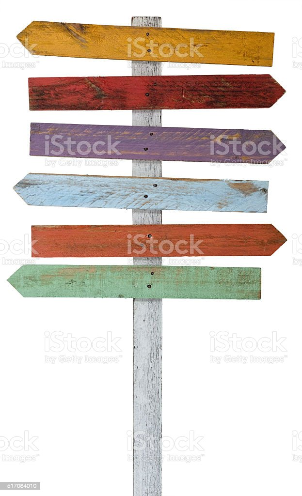 Old weathered wood sign arrow shaped boards. stock photo