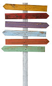 Old weathered wood sign arrow shaped boards.