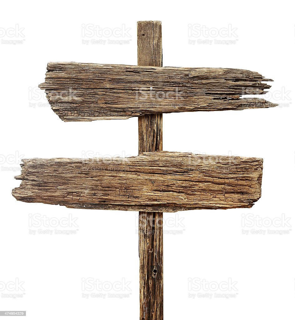 Old weathered wood sign isolated on a white background stock photo