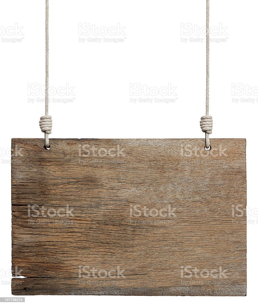 Old weathered wood signboard. stock photo