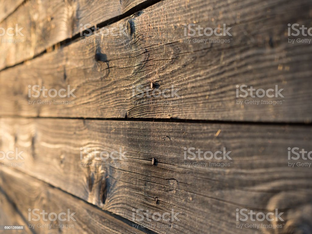 Old weathered wooden planks, shallow depth of field stock photo