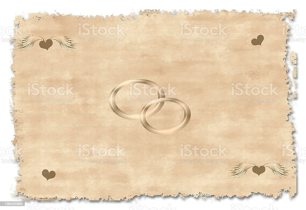 Old wedding greetings card royalty-free stock photo