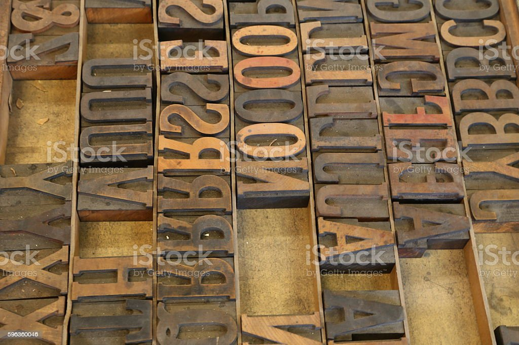 Old weed letterpress type stock photo