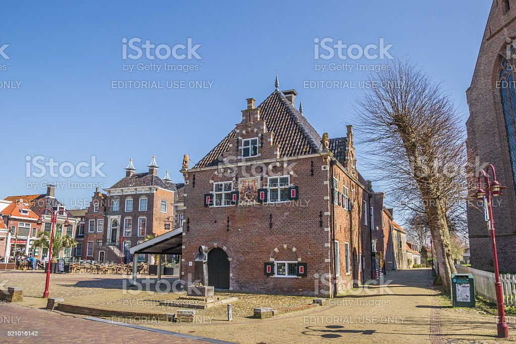 Old weigh house in the center of Workum stock photo