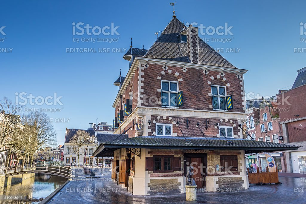 Old weigh house in the historical center of Leeuwarden stock photo