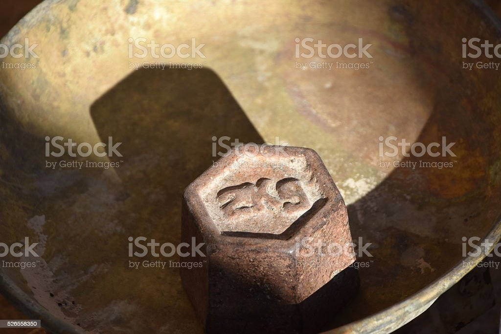 Old weight Libra stock photo