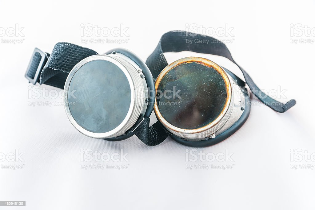 Old welding goggles stock photo