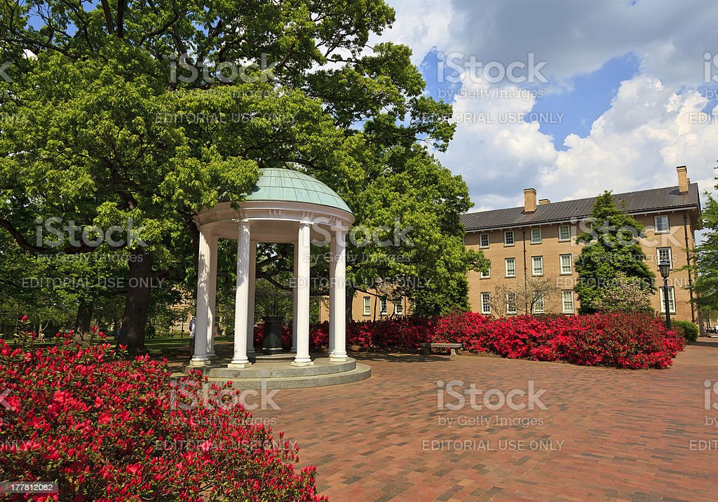 Old Well at UNC-CH in the Springtime stock photo