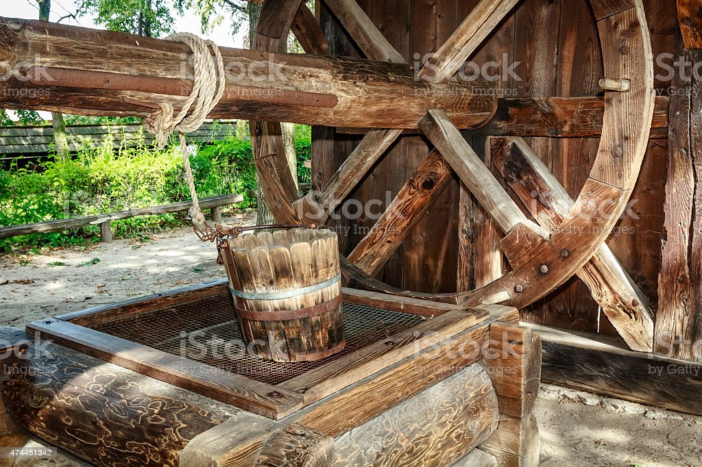 Old well with the wheel and bucket stock photo