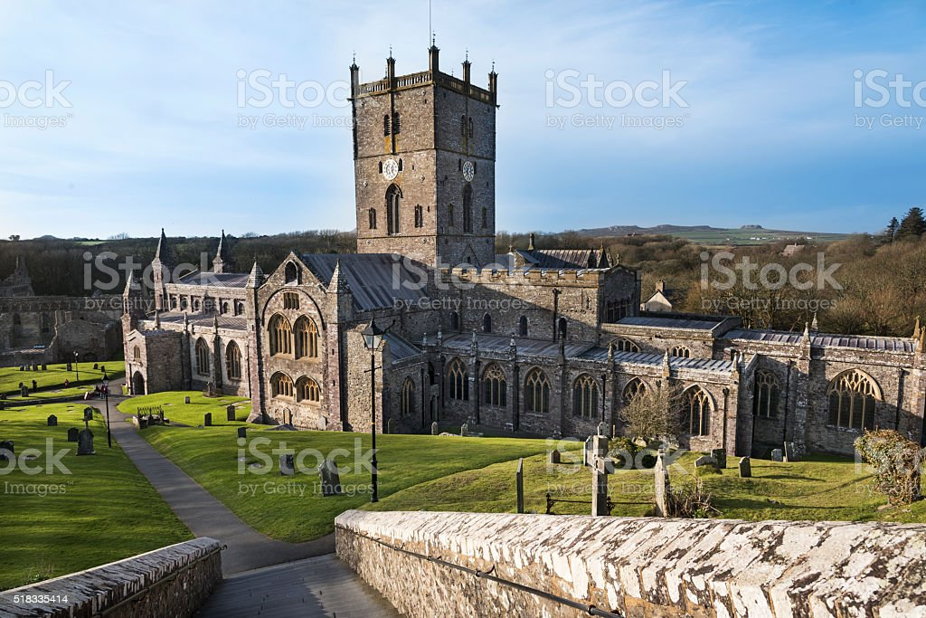 Old Welsh Cathedral stock photo