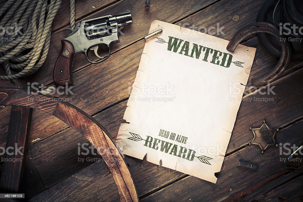 Old west background with wanted poster stock photo
