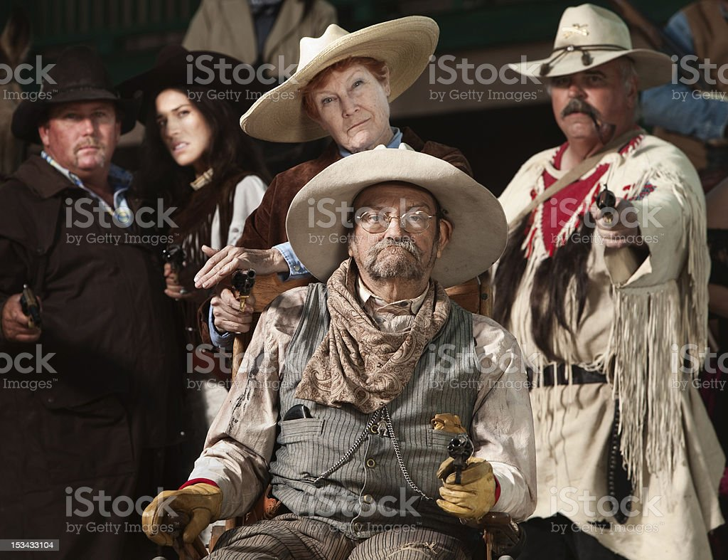 Old West Bandit with Gang stock photo