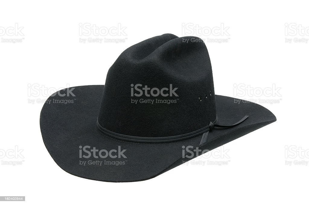Old West Black Cowboy Hat-isolated on white stock photo
