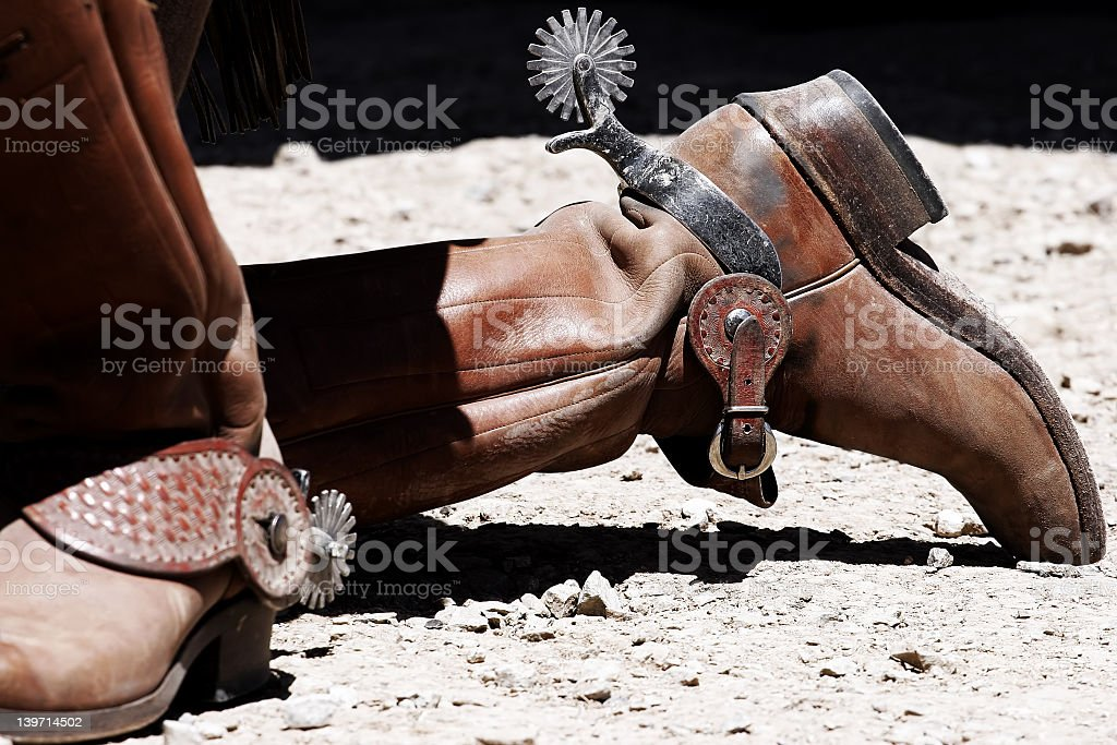 Old West Cowboy Boots & Spurs stock photo