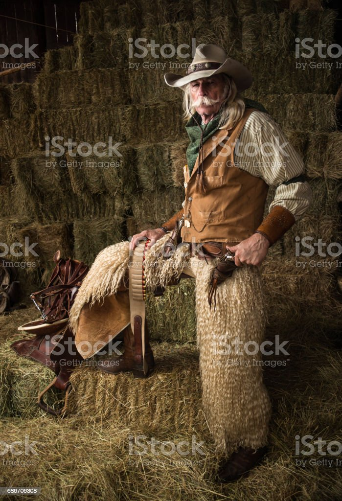 Old west cowboy with woolie chaps, pistols, vest and cowboy hat stock photo