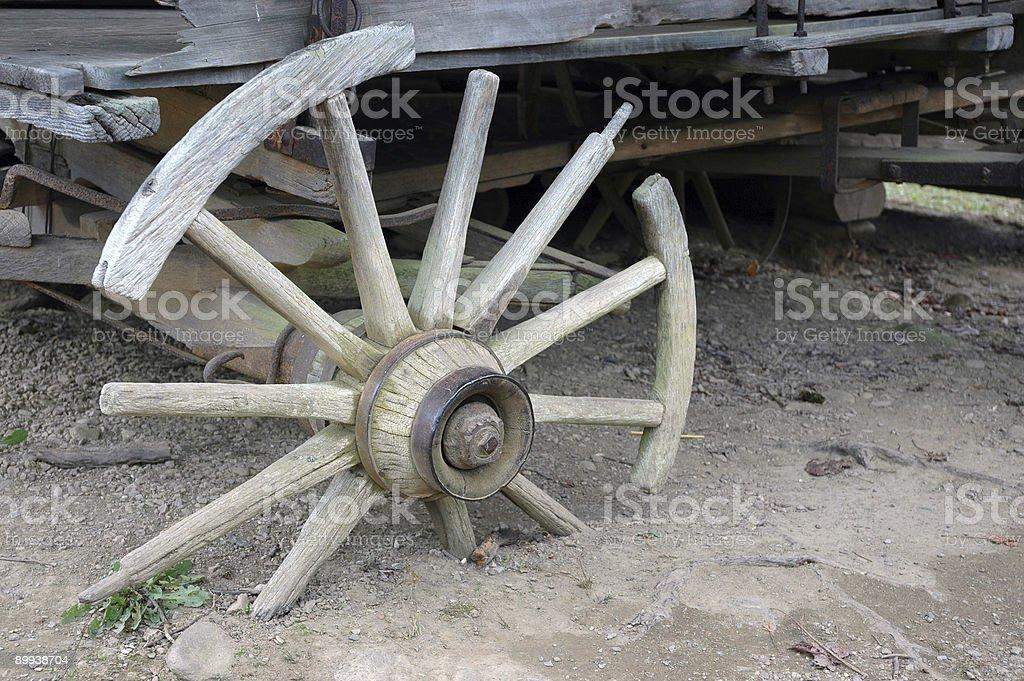 Old West -  damaged wagon wheel royalty-free stock photo