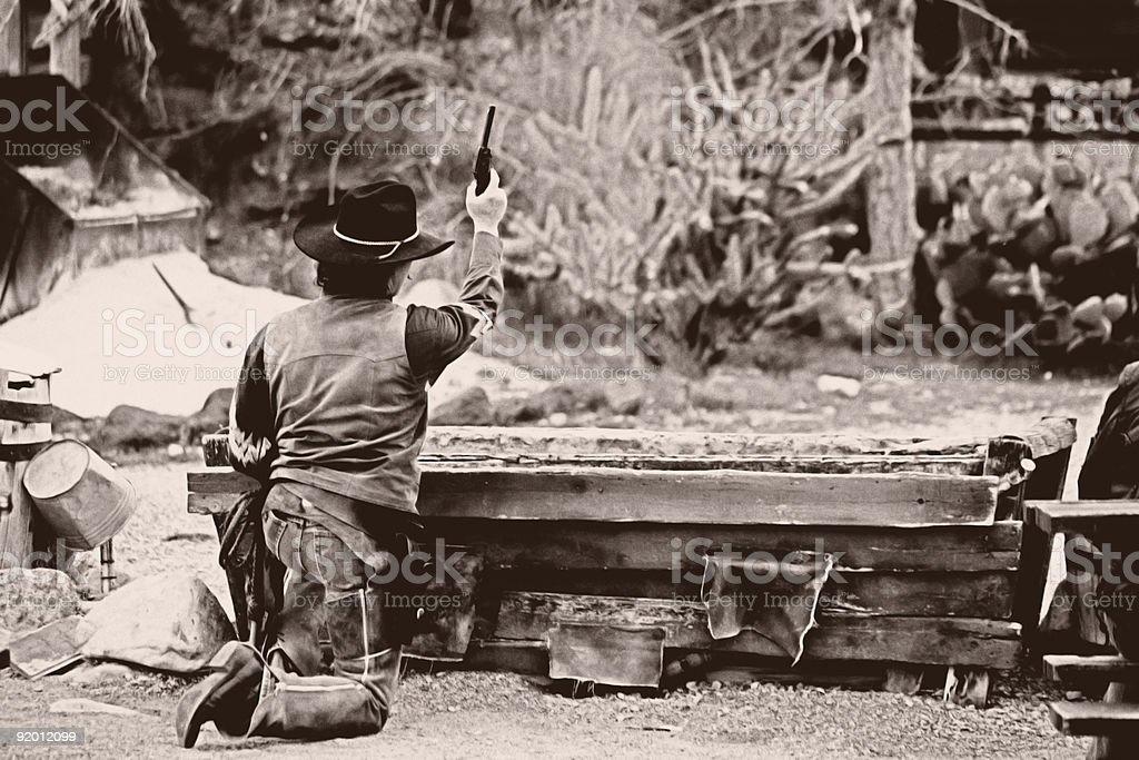 Old West Gunfight stock photo