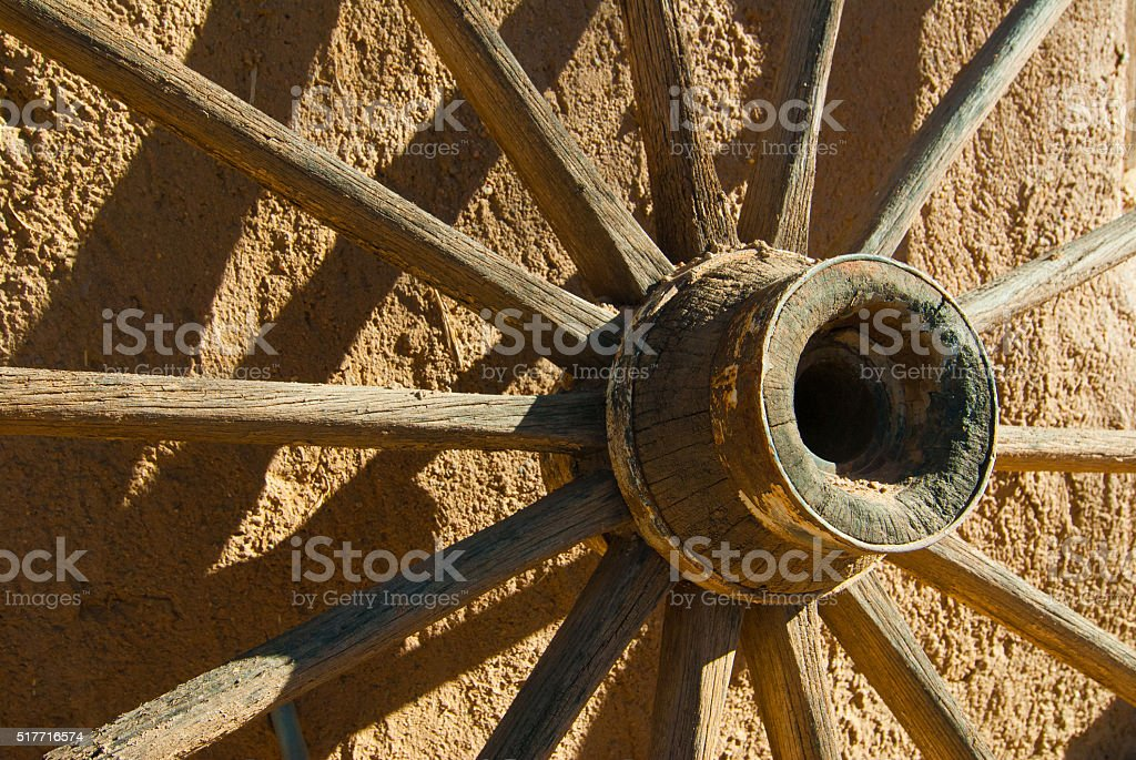 Old West Wagon Wheel stock photo