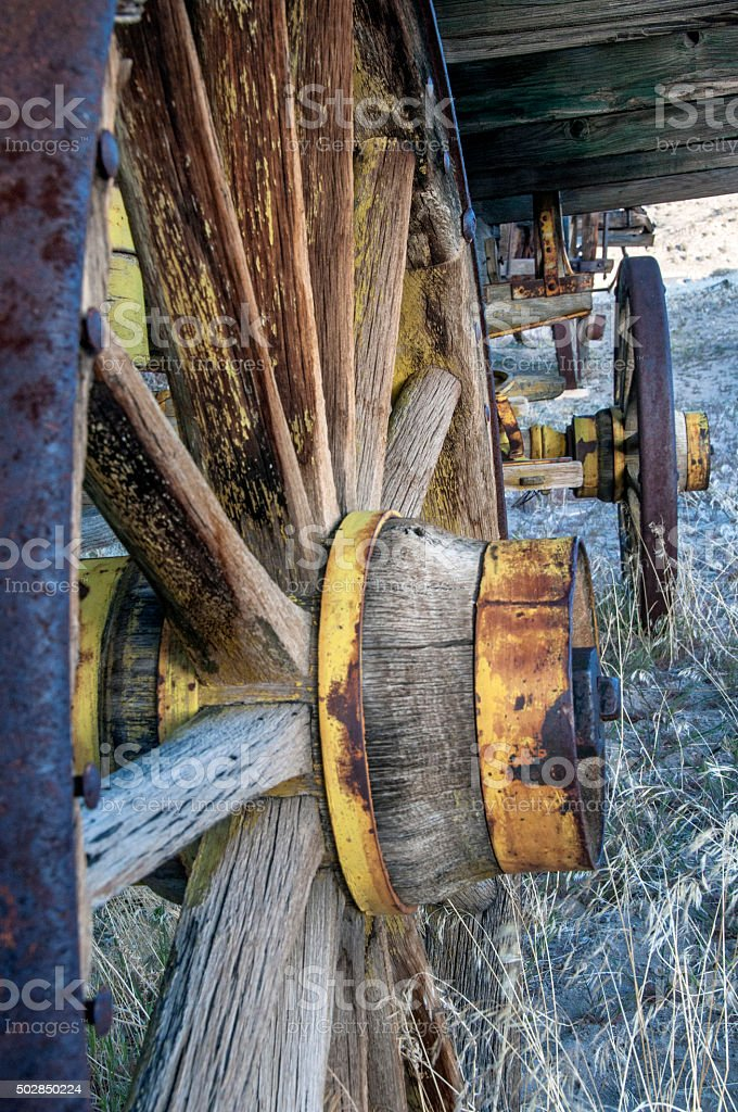 Old West wagon wheels stock photo