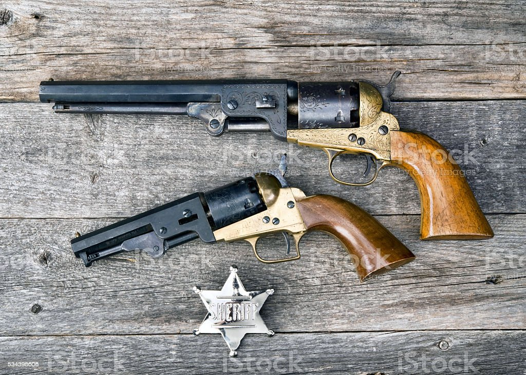 Old Western Guns. stock photo