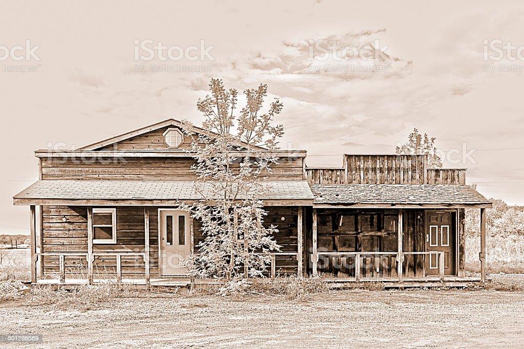 Old western style abandoned storefront stock photo