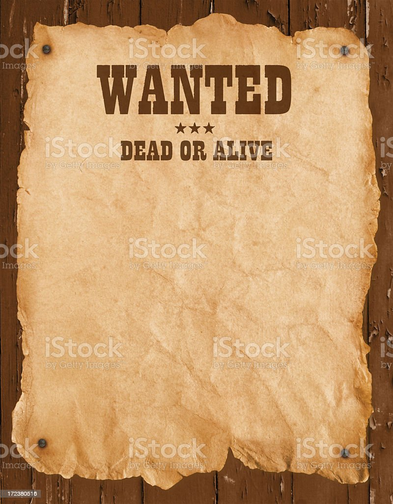 Old western style wanted poster stock photo