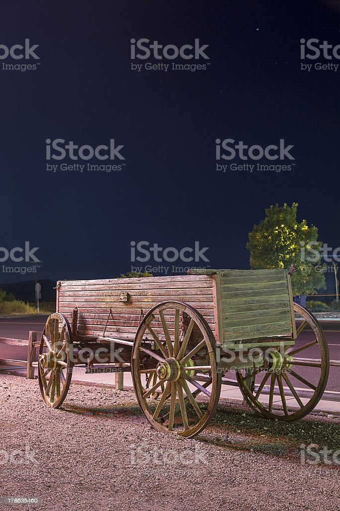 Old, western wagon. stock photo