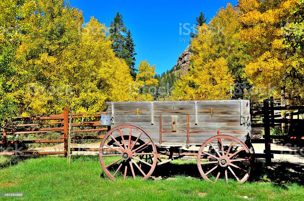 Old Western Wagon stock photo