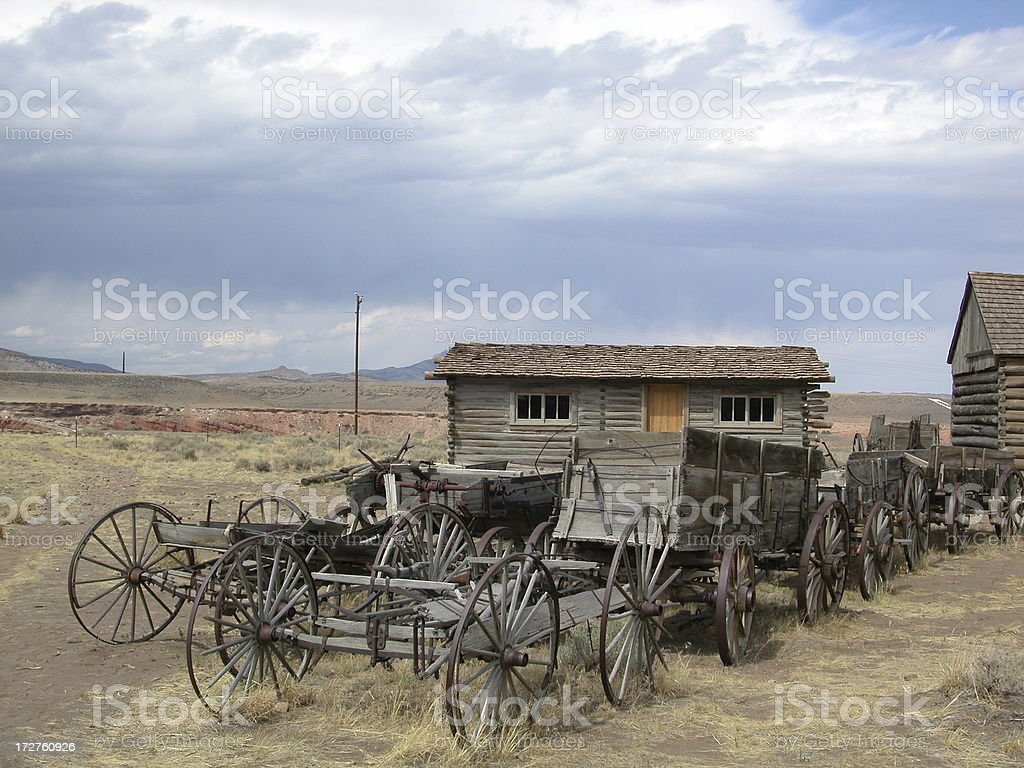 old western wagons in the desert royalty-free stock photo