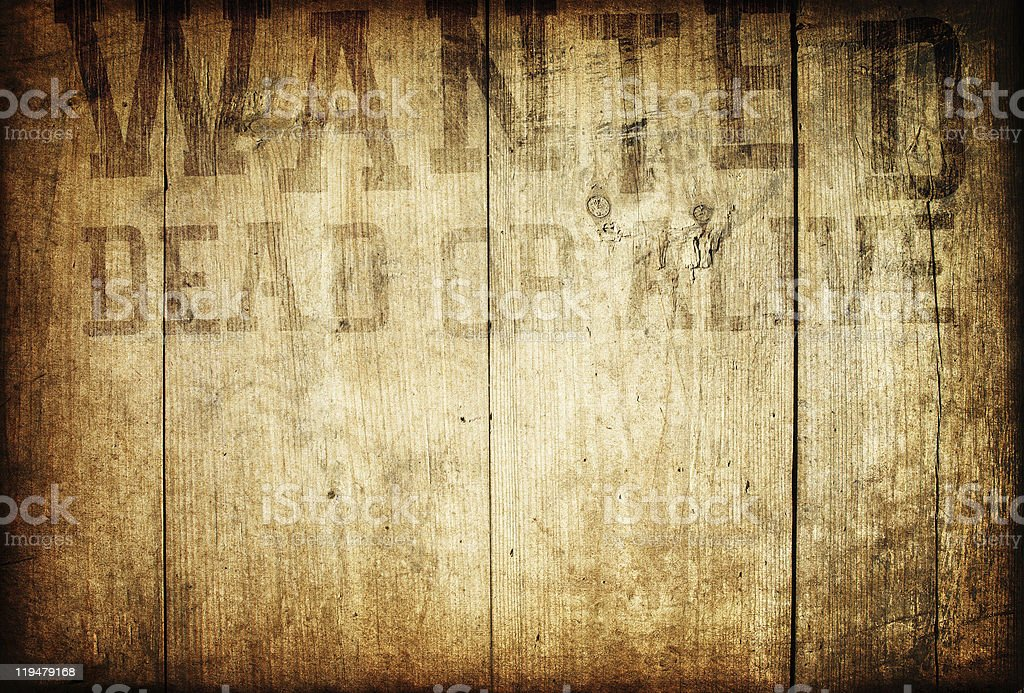 Old Western Wanted Sign On Wooden Wall royalty-free stock photo