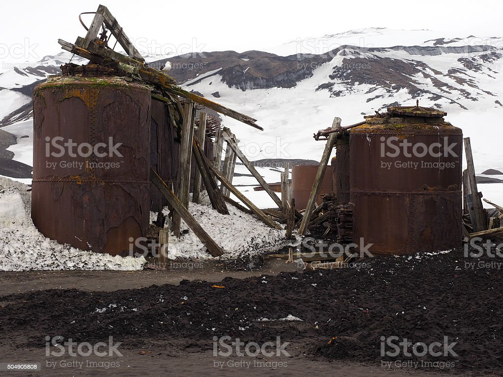 Old whaling station in Antarctica stock photo