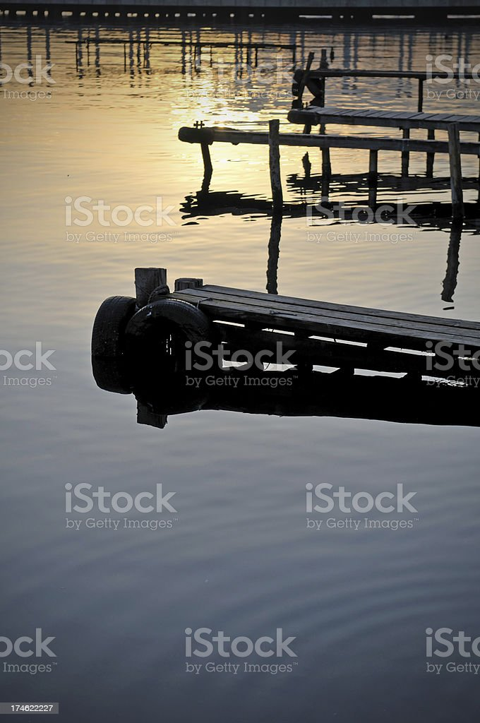 old wharfs on the seaside royalty-free stock photo