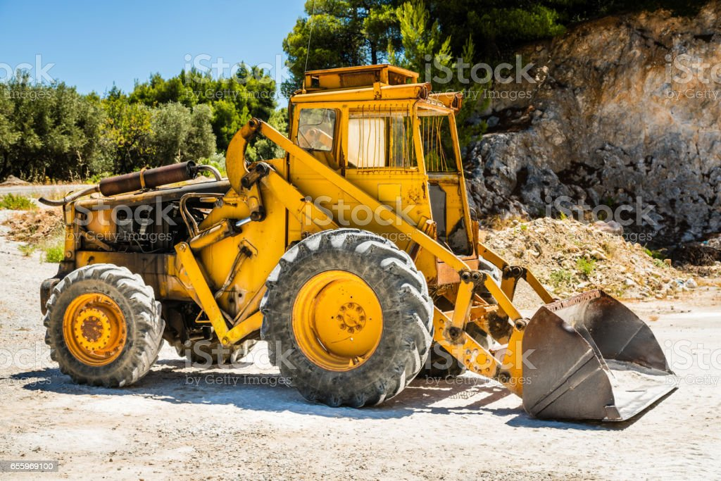 Old wheel loader stock photo