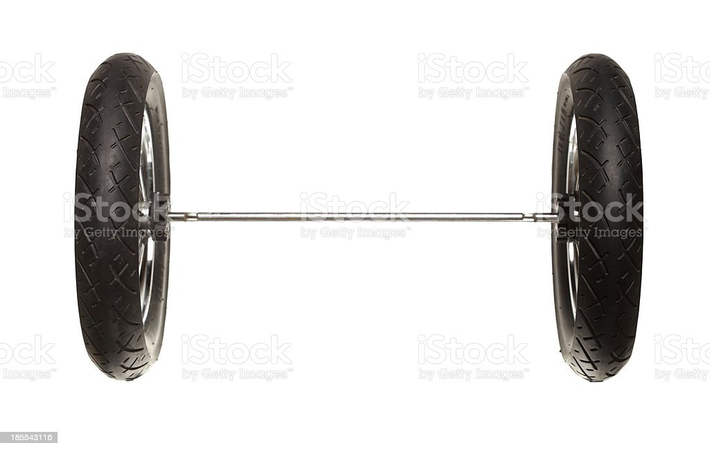 Old wheel of baby pram isolated on white royalty-free stock photo