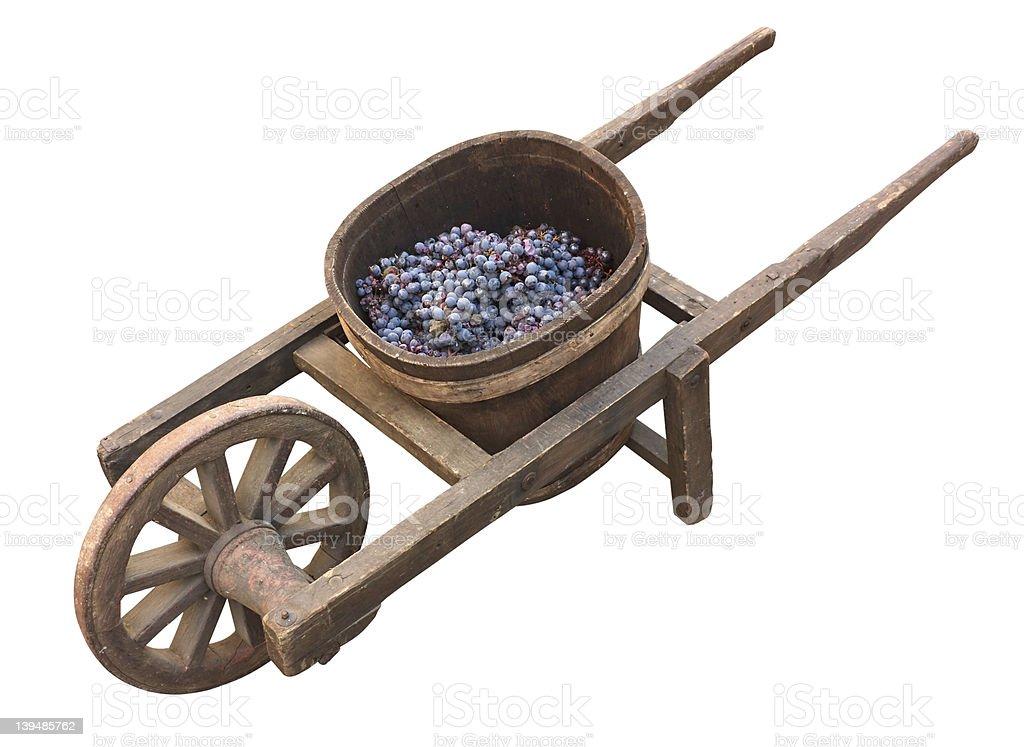 old wheelbarrow for grape transport royalty-free stock photo