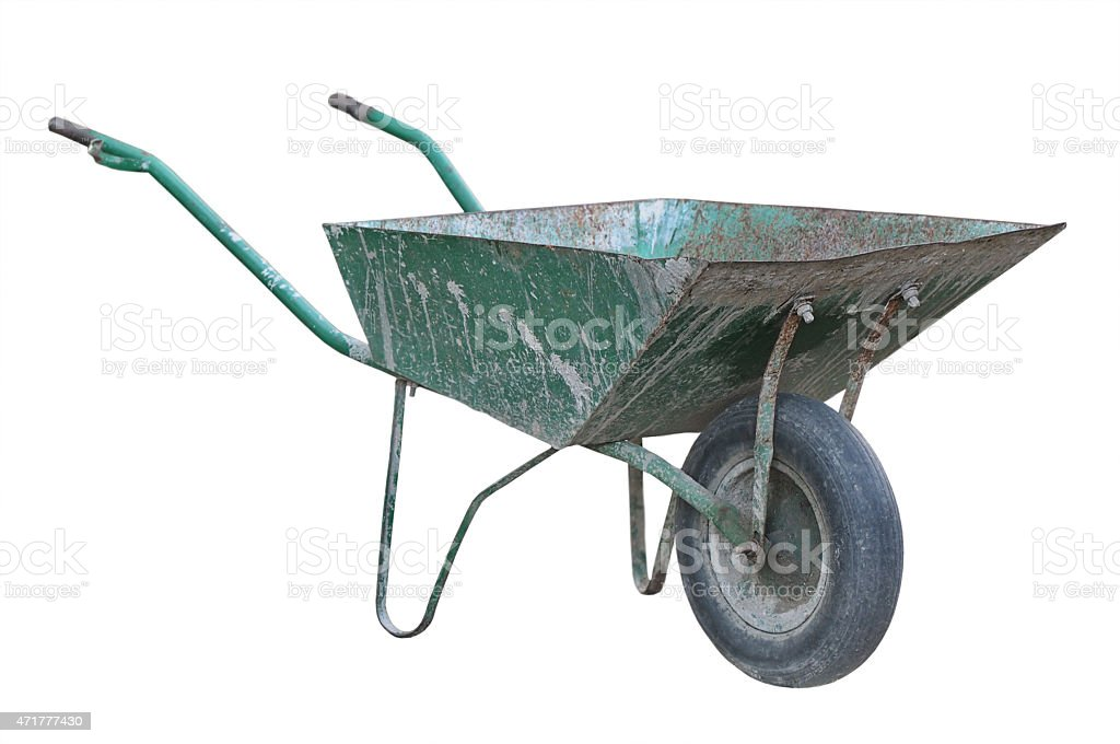 Old wheelbarrow stock photo