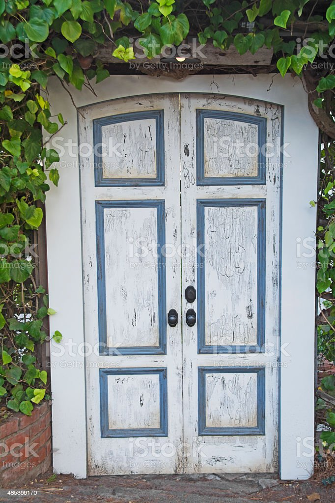 Old White and Blue Door stock photo