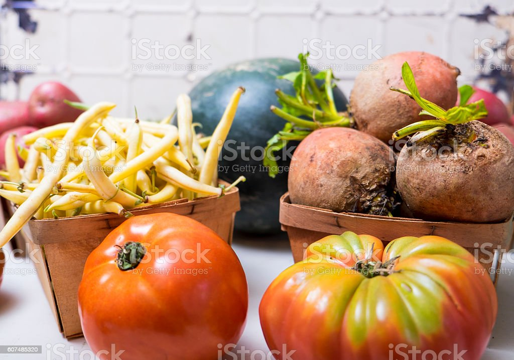 Old White Background With Organic Vegetables stock photo