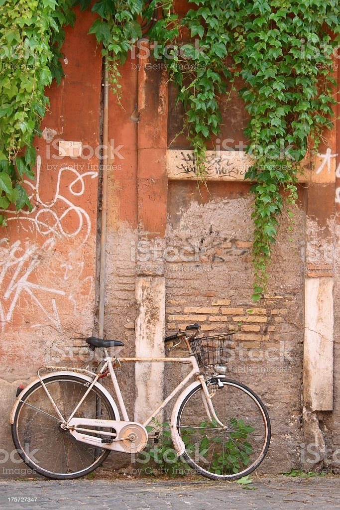 Old white bicycle royalty-free stock photo