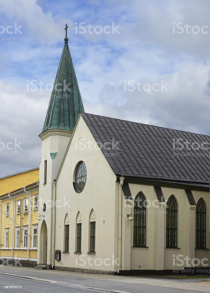 Old white church in Vaasa, Finland stock photo