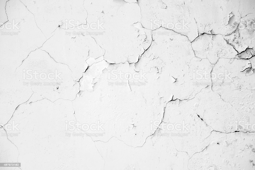 Old white crack concrete wall stock photo
